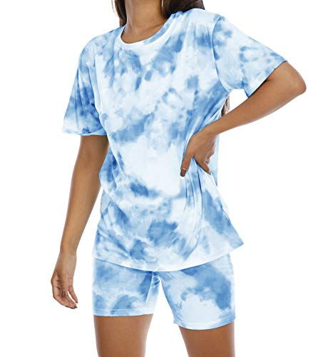 Two-Piece Lounge Set Shorts Outfits - Women Summer Matching Sets Tie Dye Short Sleeve Baggy Shirts Tight Shorts sets