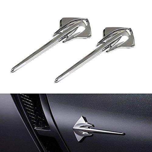 Corvette Stingray Emblem ((2) Silver Chrome Finish 3D Stingray Shark Emblem Stickers For Fenders, Trunk, etc)