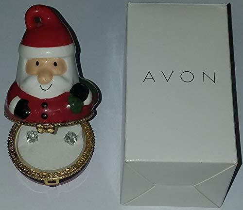 Santa Claus Cz Stud Earrings in Collectible Keepsake Trinket Box