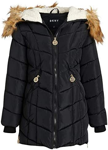DKNY Girls' Long Length Puffer Jacket with Sherpa Fur Hood