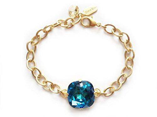 Clara Beau Exquisite 18mm Swarovski crystal Bracelet BY70 GoldTone - Bermuda -