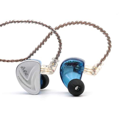 Linsoul KZ AS16 8BA Balanced Armatures in-Ear HiFi Metal Earphones with Aluminum Alloy Faceplate Resin Cavity, 0.75mm 2 Pin Detachable Cable (Without mic, Blue)