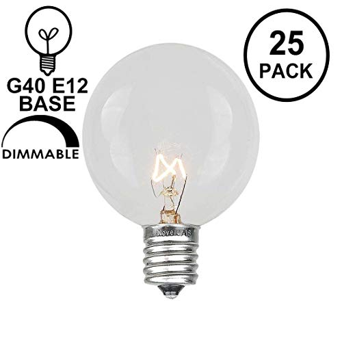 (Novelty Lights 25 Pack G40 Outdoor Globe Replacement Bulbs, Clear, C7/E12 Candelabra Base, 5 Watt)