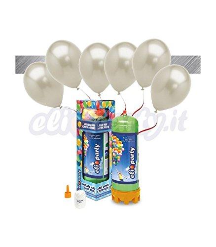 ElioParty - Kit Elio MEDIUM + 16 palloncini metallizzati argento - Ø 27 cm - ElioParty
