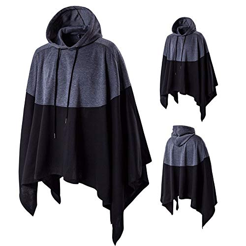Drawsting Fahison Men  s Irregular Patchwork Loose Bat Sleeves Hooded  Poncho Cape 53eb3ee2cb