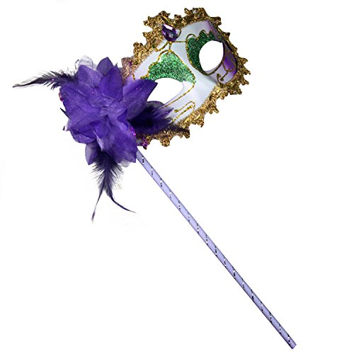 [Clearbridal Women's Sexy Purple Masquerade Mask On Stick With Feather CMJ018PL] (Purple Feather Mask)