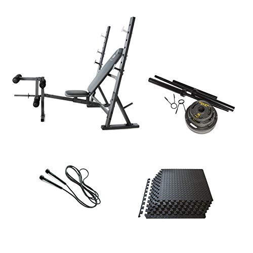 Olympic Bench Press, 110lbs Weights, Mats, and Jump Rope ()