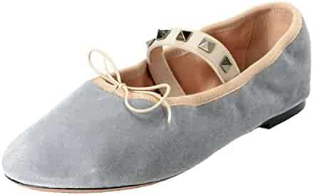 eacff6fce2118b Valentino Garavani Women s Gray Velour Leather Ballet Flats Shoes SZ US 8.5  IT 38.5