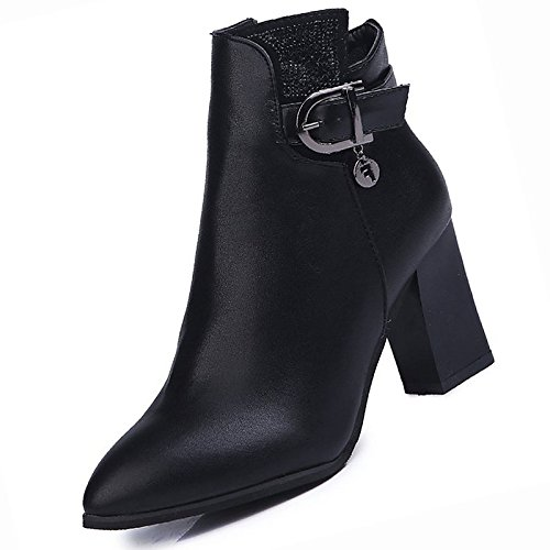 HSXZ- Botas de combate de invierno para mujer con talón redondo y puntera media para casual negro negro