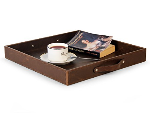 Ms.Box Top Notch PU Leather Square Serving Tray with Handles, Coffee Tray, Wood Structue Storage Tray, Brown, 15 x 15 x 1.97 inches