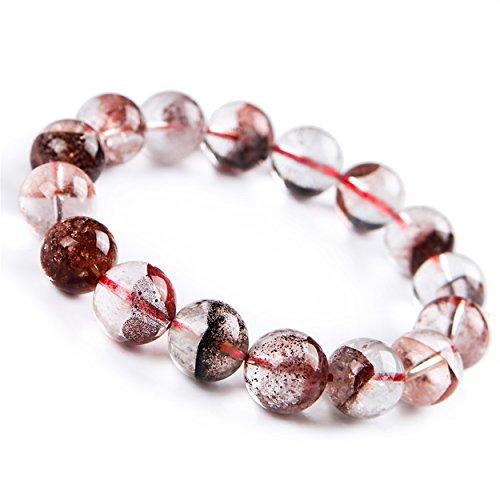 LiZiFang 13mm Natural Red Phantom Quartz Crystal Round Bead Stretch Bracelet