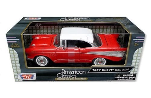 N CLASSICS COLLECTION - RED 1957 CHEVROLET BEL AIR COUPE Diecast Model Car By MOTOR MAX ()