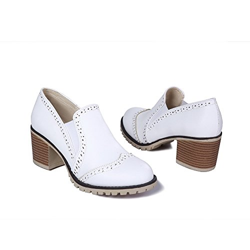 White Pull Round WeenFashion Closed On Pumps Toe Soft Material Solid Women's Kitten Heels Shoes FUIOF