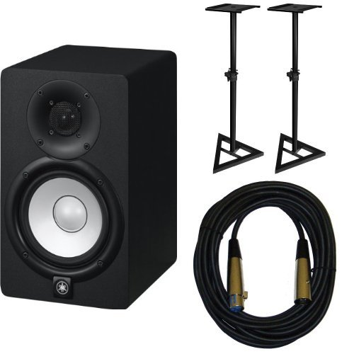 Yamaha HS5 Active Monitors (Pair) with TRS XLR-Male Cables and Speaker Stands