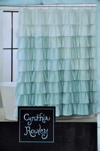 Amazon Cynthia Rowley Blue Aqua Ruffled Tiers Fabric Shower Curtain Flamenco Gypsy Home Kitchen