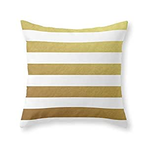 """Society6 Gold Stripes Throw Pillow Indoor Cover (18"""" x 18"""") with pillow insert"""