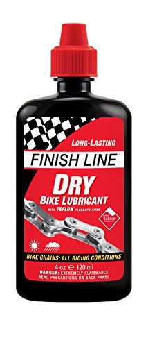 Finish Line DRY Teflon Bicycle Chain Lube, 4-Ounce Drip Squeeze Bottle