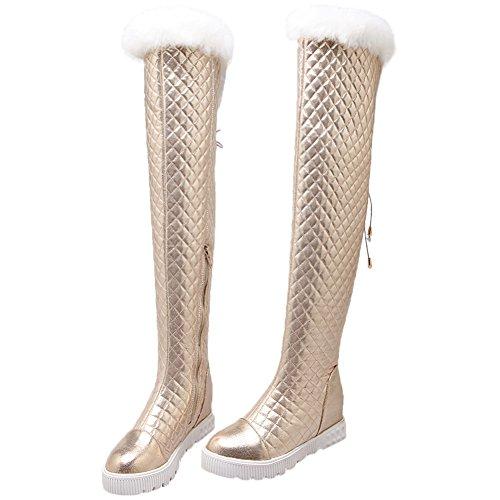 HooH Mujer Botas altas de rodilla Invierno Calentar Piel de conejo Rhombus Platform Botas altas de rodilla Gold