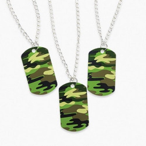 Fun Express Lot of 12 Metal Camouflage Dog Tag Necklaces Army Party Favors
