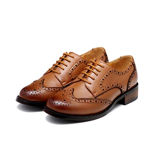 de Nincyee Cordones Marrón Zapatos para Mujer Derby Cuero College Vintage Brogues E6wq6WA7O