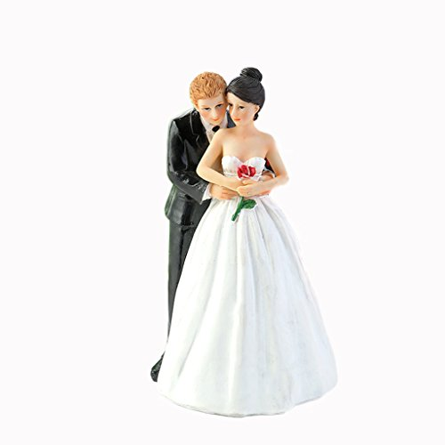 (WeddingDepot Funny Bride and Groom Decorative Wedding Cake Toppers - Cake Topper Figurines, Keepsake Wedding Cake Decorations in Unique Pose (Tender Touch of Love))