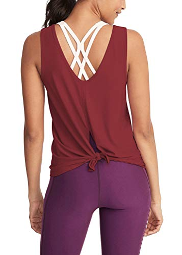 Mippo Women's Cool Summer Workout Tank Tops Backless Yoga Shirts Low Open Back Fitness Shirt Tie Back Exercise Tops Comfort Sport Gym Clothes for Women Wine Red L