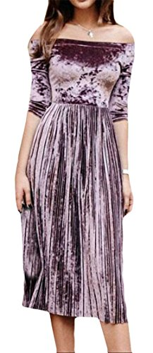Pleated Women Shoulder 3 Velvet Cromoncent Off Purple Sleeve 4 Dresses Solid Swing OBqpaUax
