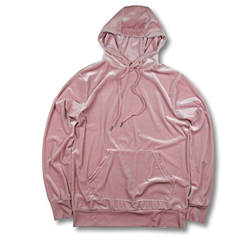 VFIVE UNFOUR Unisex Velvet Velour Swag Fashion Hoodies Pink M Pink Velour Hoodie