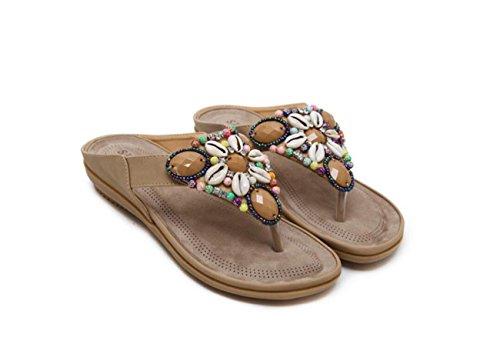 DANDANJIE Zapatos Sandals de Blue Flat con Estilo Verano Black de Zapatillas étnico para Albaricoque Heel Red Beach caseros Cuentas Bohemian Chanclas Mujer Apricot Fashion rrfwA