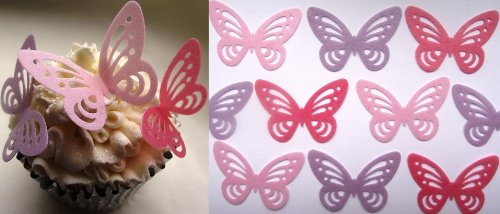 Pink And Lilac Butterfly Cake Decorations Edible Wafer X 24 Pink
