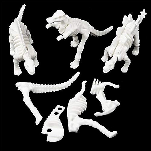 """2"""" Dinosaur Fossil Puzzle- Pack of 48 Skeleton Figures - Plastic Dino Skeletal Bodies- Variety of Species for Science Projects, Jurassic-Themed Parties, and Halloween (Build A Skeleton Halloween Game)"""