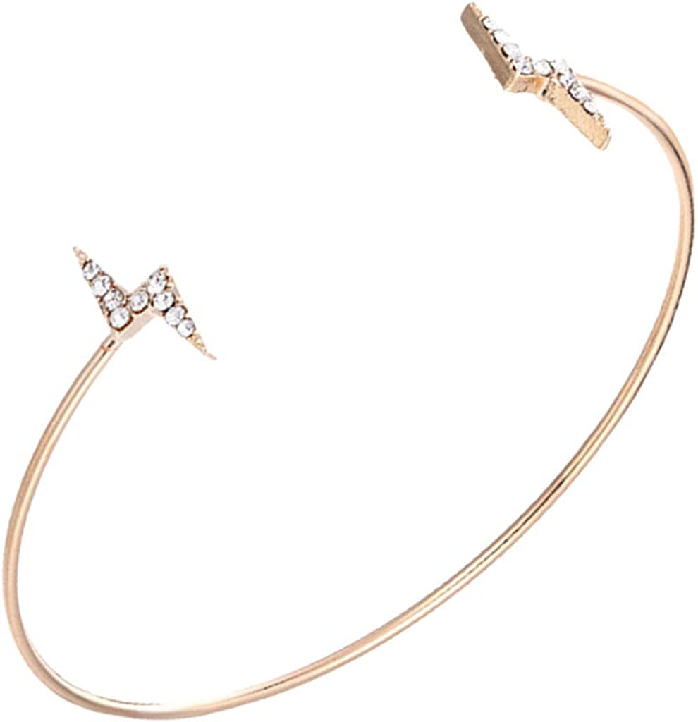 Hellery Rhinestone Cuff Bangle Fashion Crystal Bracelet Women Ladies Jewelry Charms