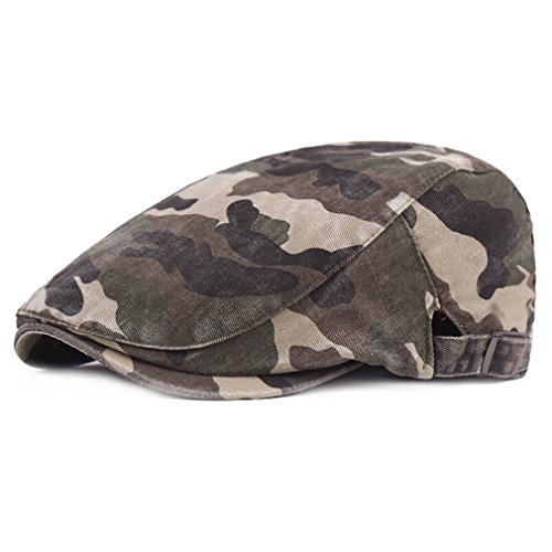RICHTOER Camouflage Beret Cap Cotton newsboy Cap Beret Men Women Flat Caps Outdoors (Color 1)