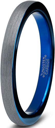 Charming Jewelers Tungsten Wedding Band Ring 2mm Men Women Comfort Fit Blue Grey Dome Brushed Size 5