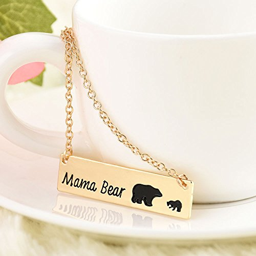 2.75' Fan (ERAWAN New Engraved Mama Bear Bar Pendant Necklace Monogram Mother's Day Jewelry Gift EW sakcharn (Mama Bear - 1 Cub, Gold))