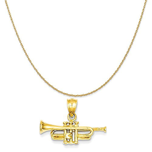 14k Yellow Gold Trumpet Pendant on a 14K Yellow Gold Rope Chain Necklace, 16