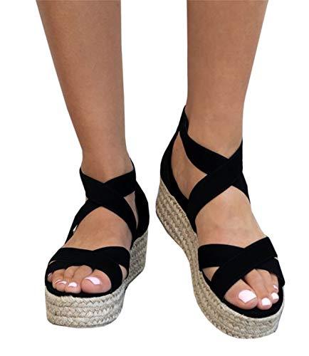 Kathemoi Womens Flatform Espadrille Strappy Open Toe Ankle Mid High Wedge Platform Sandals Black