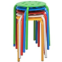 "Yaheetech 17.3"" Plastic Stack Stools Portable Stackable Bar Stools School Classroom Chairs (Pack of 5)"