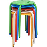 go2buy 5 Plastic Stack Stools Portable 17.3 Height Assorted Colors
