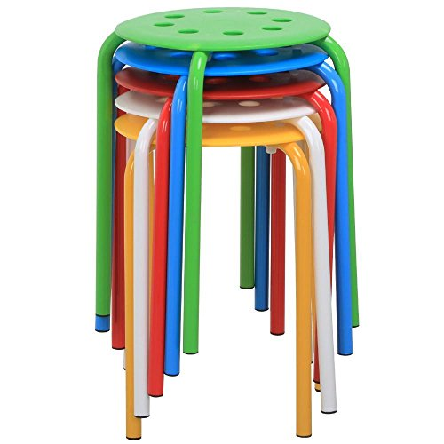 Topeakmart Set of 5 Round Plastic Stacking Stools Blue/Green/Red/White/Yellow Nesting Bar Stools Set (Chairs Breakfast)