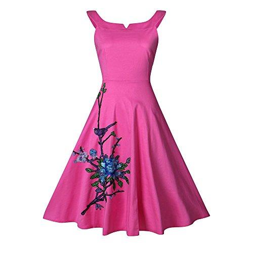 Hepburn Rockabilly Dress Red Cockatil Women's Print CharMma Tea Swing 1950s Floral wStwE