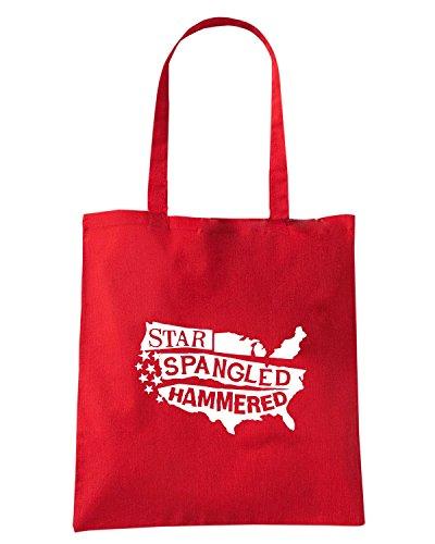 T-Shirtshock - Bolsa para la compra FUN0152 06 17 2013 Star Spangled Hammered T SHIRT det Rojo
