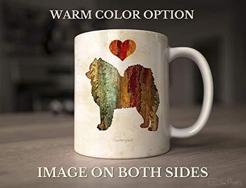 Samoyed Dog Breed Mug by Dan Morris, Personalize with Dog Name ()