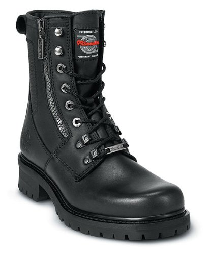 Milwaukee Motorcycle Clothing Company Trooper Leather Women's Motorcycle Boots (Black, Size 8.5C) - Milwaukee Motorcycle Leather Boots