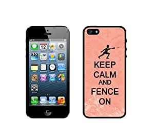 Keep Calm And Fence On - Coral Floral - Protective Designer BLACK Case - Fits Apple iPhone 5 / 5S