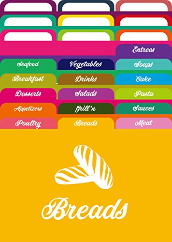 AKSHAYA Recipe Card Dividers Set - 25 Recipe Card dividers 4x6 with Tabs | 16 Labelled and 9 Un-Labelled Tabs | Index Card Dividers 4x6 | Helps Organize Recipe Cards in Recipe Box - Assorted Colors