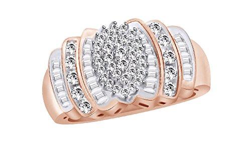 White Natural Diamond Cluster Estate Ring In 10K Solid Rose Gold (0.5 (Estate Ring)