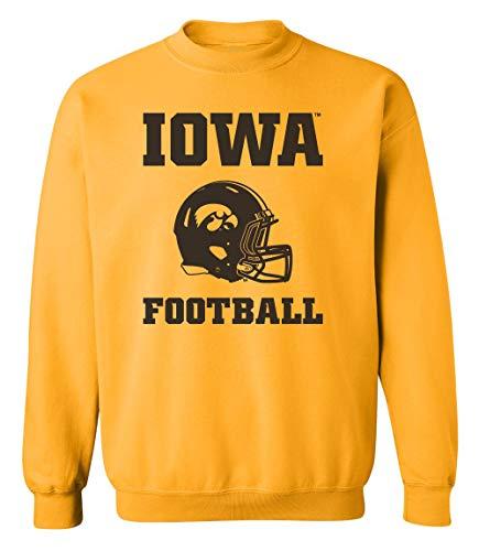 CornBorn Iowa Hawkeyes Sweatshirt - Crewneck Fleece Iowa Football Helmet - Gold - Medium ()