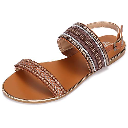 CAMEL CROWN Women's Summer Flat Sandals with Bohemian Rhinestone Adjustable Ankle Strap Buckle Open Toe Slingback Comfort Casual Sandal Colour Brown Size 7.5