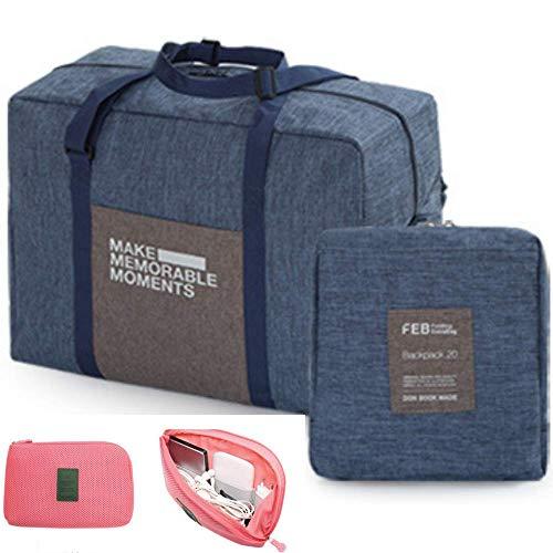 Travel Duffel Bag For Men Women - Packable Foldable Duffle Bag Luggage Bags + 1 Cable Bag ()